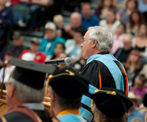 Dr. Jim Hess delivering the 163rd commencement address