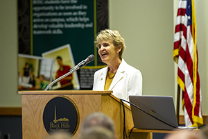President Laurie Nichols giving the 2019 State of the University Address