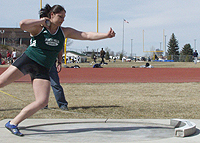 Aubrey Baxter competes in shot put at the 2008 BHSU Frostbite Invitational