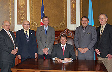 Gov. Mike Rounds was joined by representatives of the South Dakota Board of Regents and Rapid City area supporters to commemorate the signing of House Bill 1183.