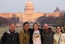 BHSU students (left to right) Brett Kavanaugh, Kristal Running Wolf, Kelly Smith, Joshua McDonald, and Brie Covert, joined more than 12,000 college students from across the nation to take part in Power Shift 2009, a national youth summit in Washington, D.C., to show support for sustainability.