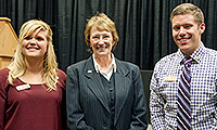 Student Senate leaders Lorrin Anderson and Chase Vogel thank BHSU President Kay Schallenkamp