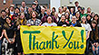 BHSU students hold a Thank You banner to express their appreciation to BHSU President Kay Schallenkamp