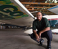 President Jackson with his Grumman Cheetah airplane