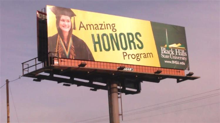 BHSU Honors Program Billboard near Whitewood, South Dakota.