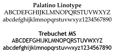 Examples of the fonts used at BHSU