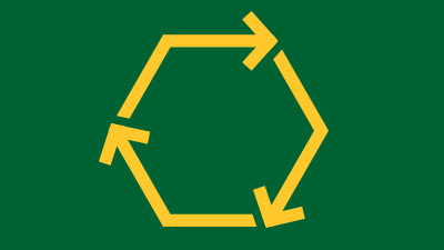 Arrows in a circle, indicating recycling