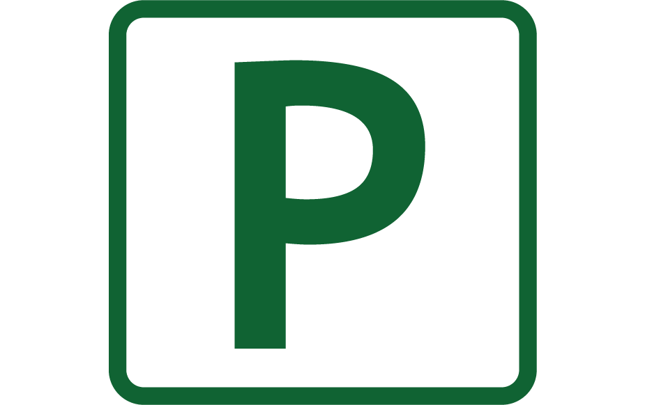 Parking Sign, a square with a giant P on it