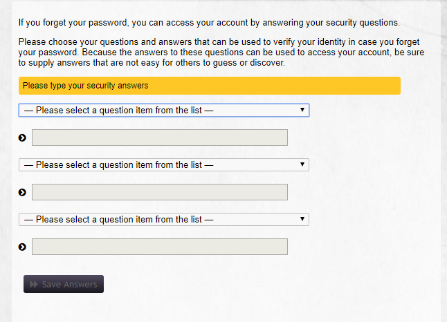 Security Question Prompt