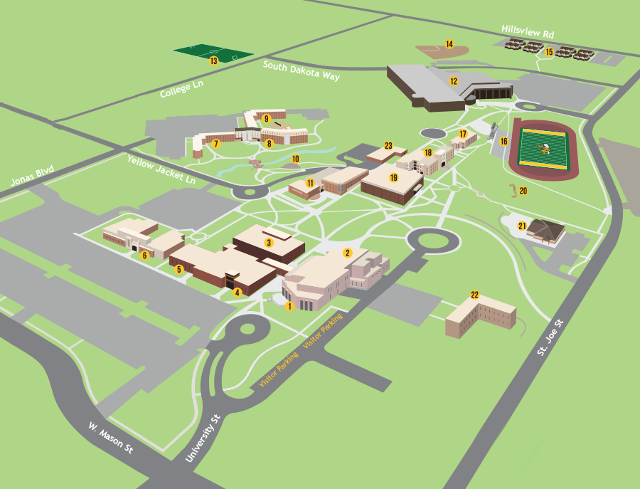 university of south dakota campus map Bhsu Campus Map university of south dakota campus map